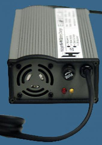Fan cooled, 4amp, 110/220v switchable charger